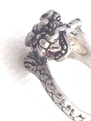 Vintage Sterling Silver Dragon Fantasy mythical Ring  Size 8 6.3g