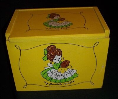 a Lorrie design wooden recipe box Cute girl with loaf of bread