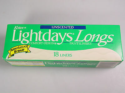 VINTAGE Kotex unscented light days longs Feminie Napkins liners prop role play