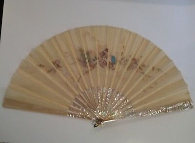 19th C. Silk Fan, Mother-of-Pearl & Cherub Scene