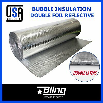 Dual Bubble Double Foil Home House Attic Roof Wall Heat Insulation Reflective