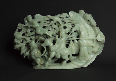 "China 20. Jh . Große - A Chinese Jadeite ""JOURNEY TO THE WEST"" Group - Chinoise"