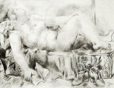 "SpRINgSaLe2...California Drawing MARJORIE EATON 'Girl Lying on Bed' 15"" x 11"""