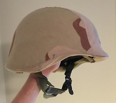 Military Helmet, made with Kevlar, with Desert Camo pattern and chin strap M/L