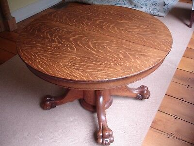Antique Tiger Oak Claw Foot Dinninglibrary Table W2 Leaves