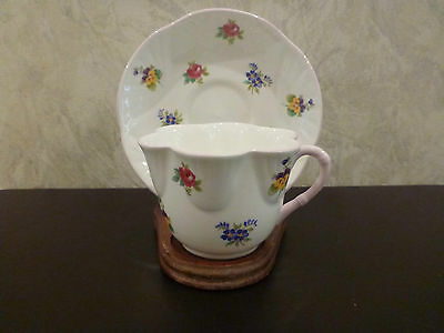 Crown Staffordshire Cup Saucer w Stand China England Floral Bouquet Scalloped
