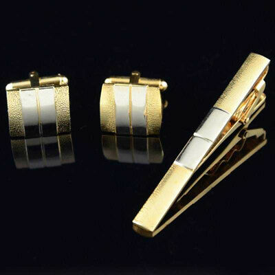 Men's Silver Gold Lapel Cufflinks Set Stainless Steel Mens Wedding Party Gift