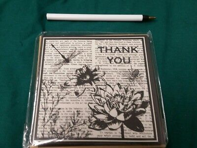 Set of 6 Blank Square Notecards & Envelopes Greeting thank you flowers/dragonfly