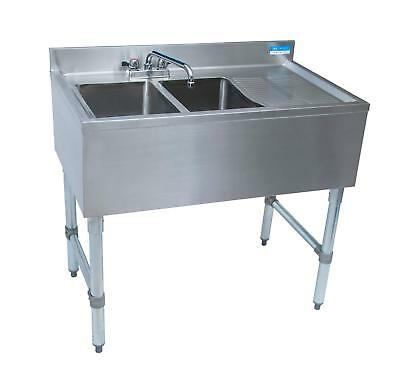 """BK Resources (2) Compartment 36"""" Wide Underbar Sink with Right Drainboard"""