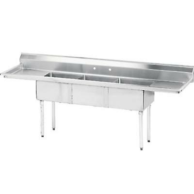 """Advance Tabco 3 Compartment Sink 20""""x30""""x14"""" Bowl S/s Two 30"""" Drainboards"""