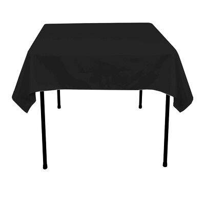 "Intedge 54"" Diameter Round Hemmed Edge Polyester Table Cloth - Black"