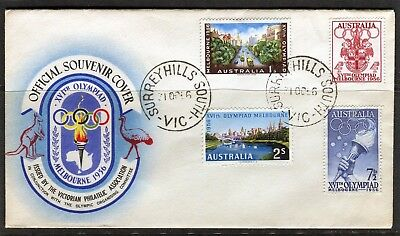 1956 Melbourne Olympics Set Of 4 Unaddressed First Day Cover, Good Condition