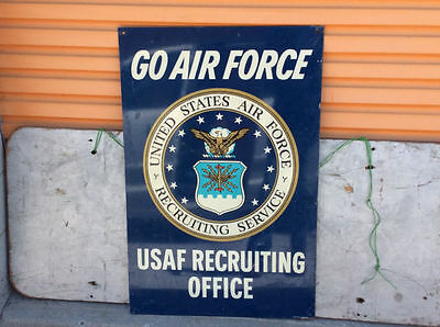 """Vintage double sided """"USAF RECRUITING OFFICE"""" metal sign - """"GO AIR FORCE"""" !"""