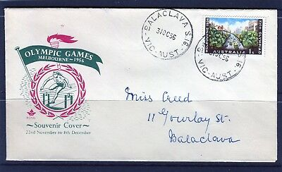 1956 Melbourne Olympics 1/- Shilling Addressed First Day Cover, Good Condition