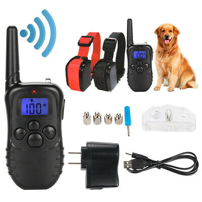 Rechargeable LCD Electric Shock E-Collar Remote Control Dog Training Anti-Bark O