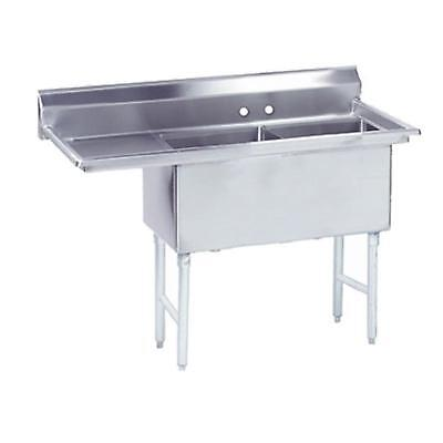 """Advance Tabco 2 Compartment Sink 16""""x20""""x14"""" Size Bowl 18"""" Left Drainboard"""