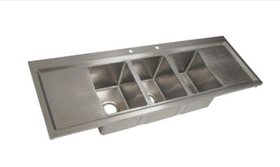 """BK Resources 58"""" (3) 10""""x14"""" Compartment Drop-in Sink w/ Drainboards"""
