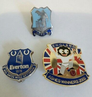 3 X English Cricket Badge Pin Lords, Everton, Ashes Winners