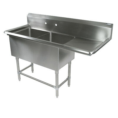 """John Boos 2PB184-1D24R 2 Compartment 18"""" x 18"""" Stainless Steel Pro-Bowl Sink"""