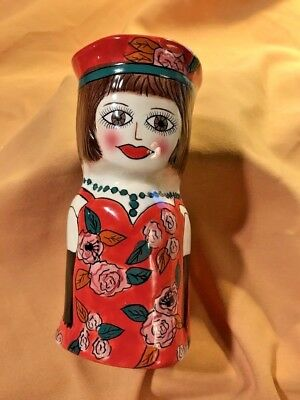 Susan Paley Ceramic Coin Bank By Ganz, Red Hat & Red Dress W.pink Roses,  Cute !