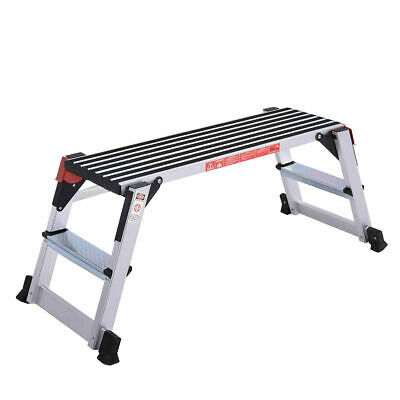 330lbs Aluminum Step Stool Work Platform Folding Bench Non-slip Drywall Ladder