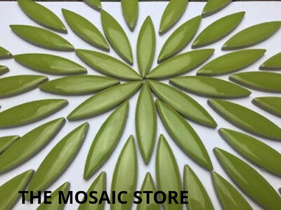 XL Green Ceramic Petals - Mosaic Art & Craft Supplies Tiles