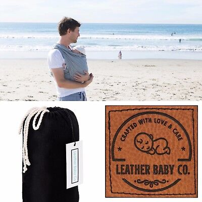 Wrap/Sling Baby Carrier by LeatherBabyCo Organic Cotton BLACK FREE EXPRESS POST