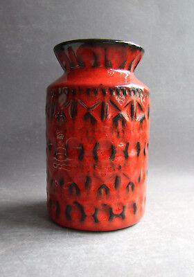 West German Pottery Fat Lava vase BAY KERAMIK 603-14 RED midcentury vtg. retro 2