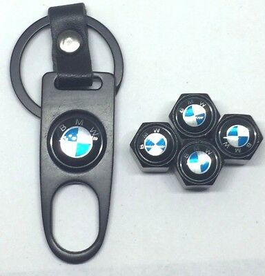 4X Black Universal Wheel Tire Valve Air Caps Covers w Keychain for BMW