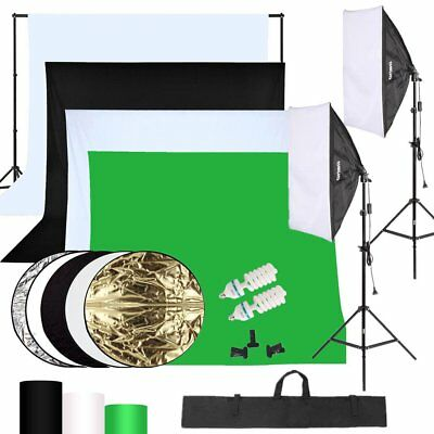 2Pcs 135W Lampe Softbox +4 Fond Photo Studio Kit Softbox d'éclairage Continu