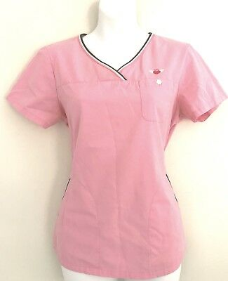 afaaf8e61ab KOI by Kathy Peterson Womens Scrub Top Size S Solid Pink With Gray Trim