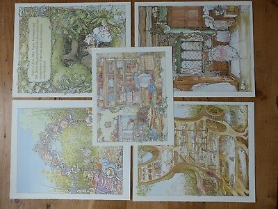 Retro Brambly Hedge Book Plates/ Illustration Print - Summer Story Pictures x4