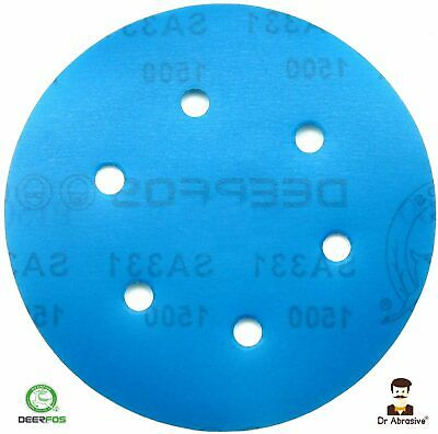 "150mm Wet and Dry Sanding Discs Sandpaper 6"" Pad Hook & Loop 6 Hole Grit 40-3000"