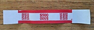 25 Self Sealing Red $500 Currency Straps Money Bill Bands $500 Mmf Brand Strap