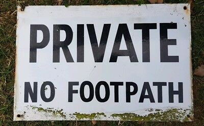 Private No Footpath Enamel Sign