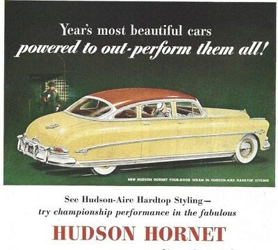 1952 Hudson Hornet And Wasp Vintage Auto Print Ad Inspired New Glamour Styling s