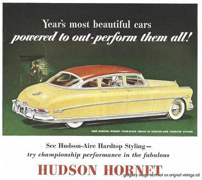 1952 Hudson Hornet And Wasp Vintage Auto Print Ad Try Championship Performance s