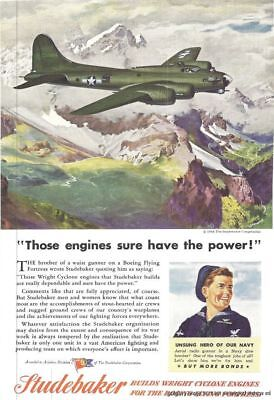 1944 Studebaker 3 Vintage Auto Print Ads Builder Of Wright Cyclone Engines s
