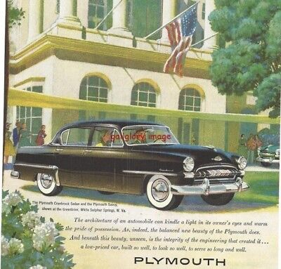 1953 Plymouth Vintage Auto Print Ad Cranbrook Sedan At The Greenbrier Resort s