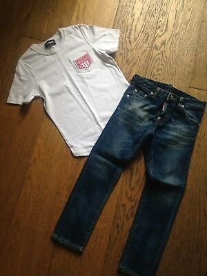 DSquared white Tshirt & jeans set outfit Age 8 years