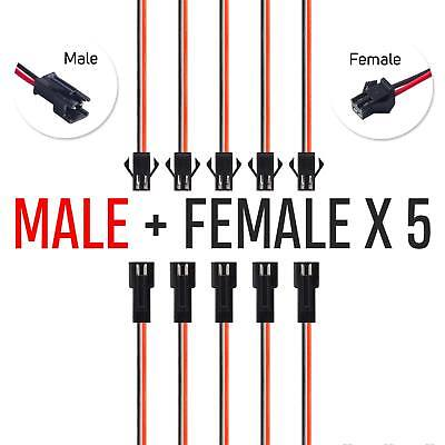 5 Pairs 2-Pin SM Plug Connectors Electrical Cable Wire Male + Female Connector