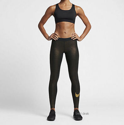 3d26071f427ce Nike Pro Women's Cool Training Slim Tights Pants Gold Sparkle M 881778 NWT  $60