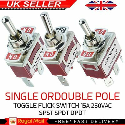 Single or Double Pole Toggle Flick Switch 15A 250VAC – SPST SPDT DPDT 3 in 1 UK
