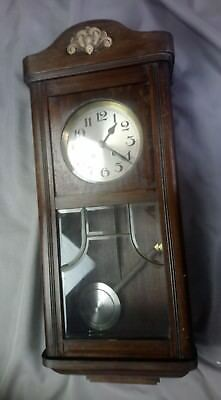 """Vintage Antique Oak Cased 8 Day Wall Clock Wood Carved 32"""" Tall Chime"""