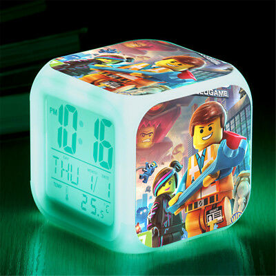 The Lego Movie 7 Color LED Night Light Alarm Clock Figures Watch kid Gift Toy