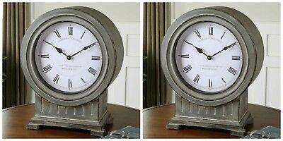 Pair Dusty Gray Finish White Face Round Table Desk Mantle Clock Modern Vintage