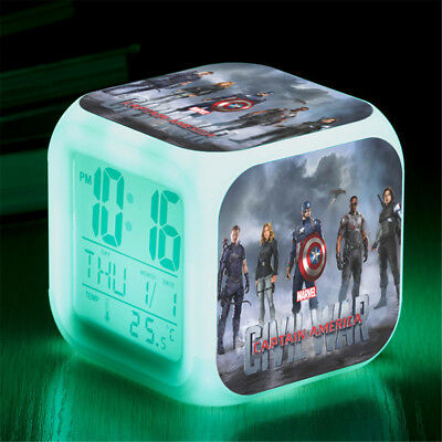 Captain America 7 Color Change Alarm Clock LED Digital Glowing Night Light