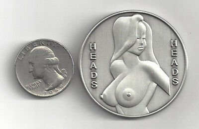 Large Busty Jessica Rabbit Heads Tails Silver Coin Token Medal Medallion Naked