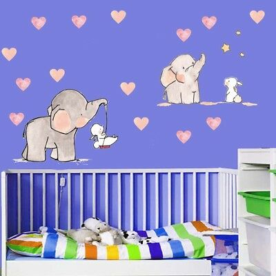 3D Cartoon Animal Elephant Rabbit Wall Stickers For Kids Room Girls Boys Bedroom