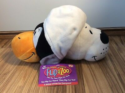 "New! FlipaZoo 10"" Penguin To Seal Original Toy Plush Stuffed Animal Black White"